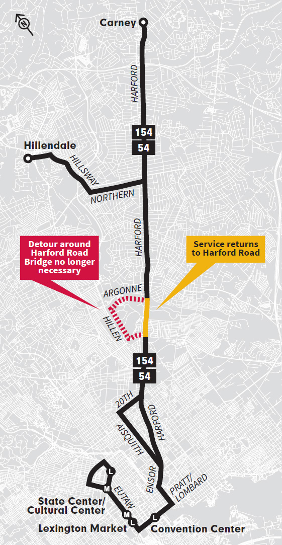 Map of proposed changes on the LocalLink 54 and Express BusLink 154