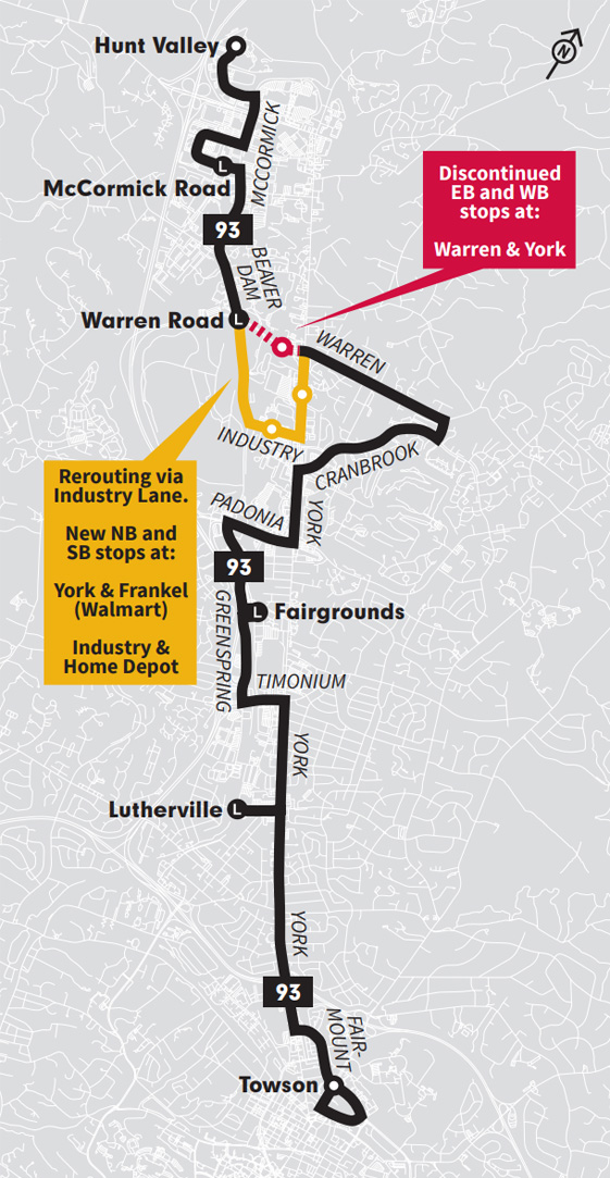 Map rerouting to Industry Lane on the LocalLink 93